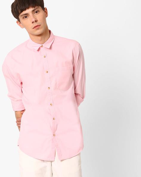 Slim Fit Cotton Shirt By Jack & Jones ( Pink )
