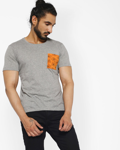 Cotton T-shirt With Printed Pocket By ANTIFERRO ( Black )
