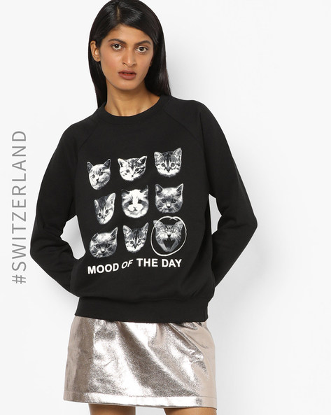 Graphic Print Sweatshirt With Raglan Sleeves By TALLY WEiJL ( Black )
