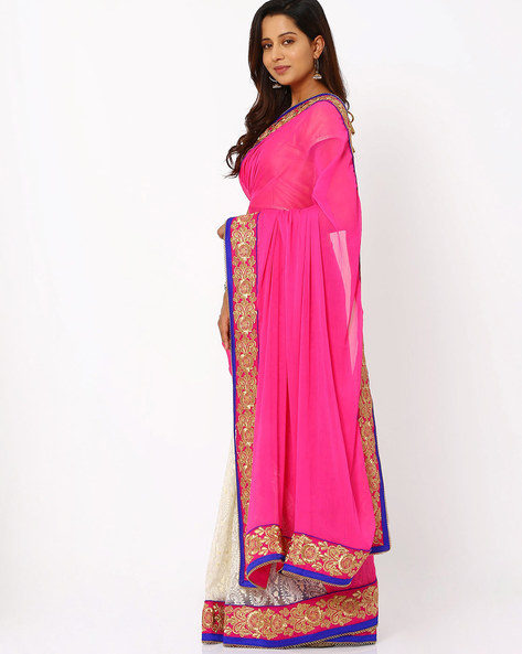Embroidered Chiffon Half & Half Saree By Viva N Diva ( Pink )