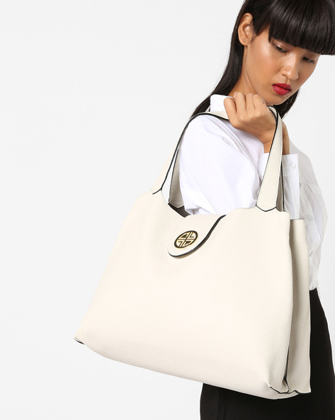 Tote Bag With Flap Closure By Carlton London ( Offwhite )