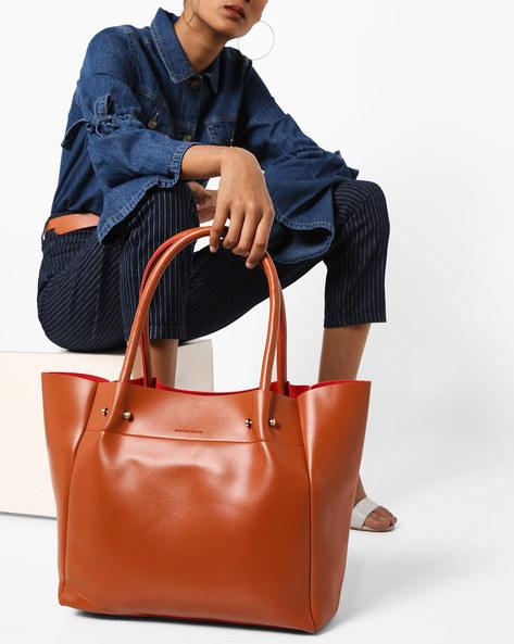 PU Tote Bag By Kanvas Katha ( Tan )