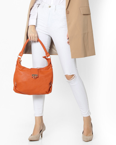 Textured Leatherette Hobo Bag By Lino Perros ( Orange )