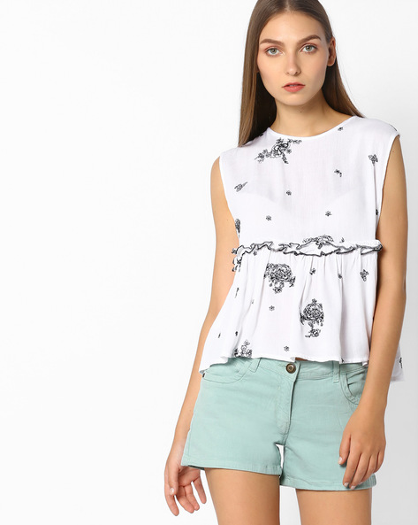 Peplum Top With Floral Embroidery By Rena Love ( White )