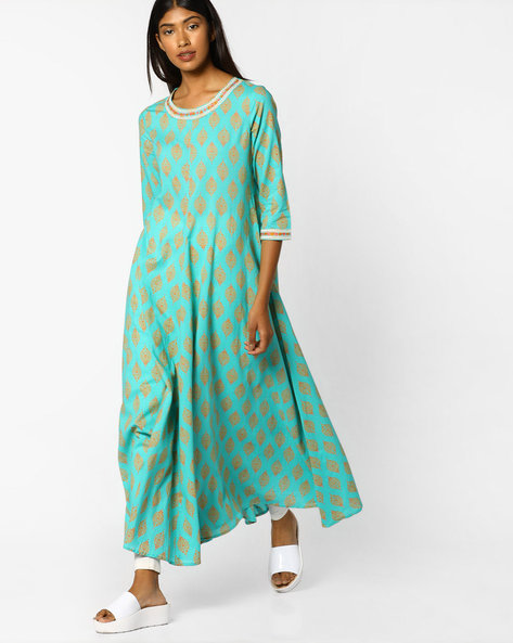 Printed A-line Kurta With Embroidery By AJIO ( Teal )