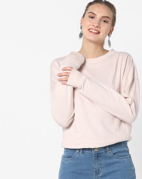 Crew-Neck Sweatshirt With Ribbed Hems By Blue Saint ( Pink )