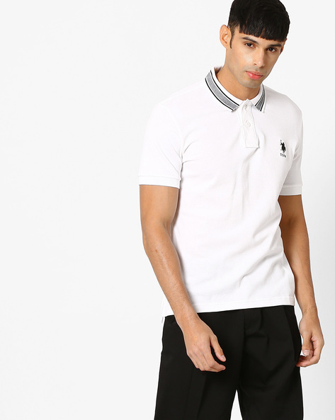 Polo T-shirt With Embroidered Logo By US POLO ( White )