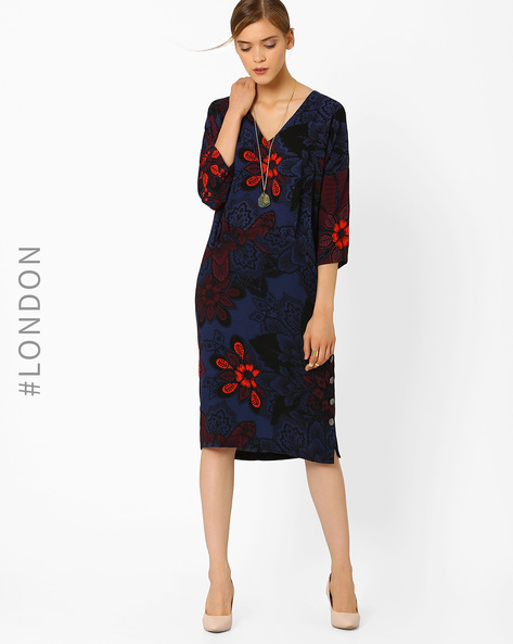 Floral Print Shift Dress By Closet London ( Blue )
