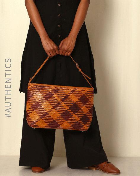 Handcrafted Natural Fibre Tote Bag By Indie Picks ( Brown ) - 460039134001