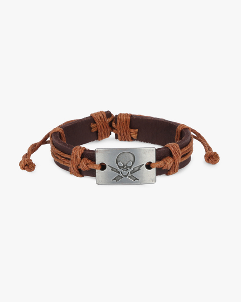 Bracelet With Skull Metal Accent By ALPHA MAN ( Tan )