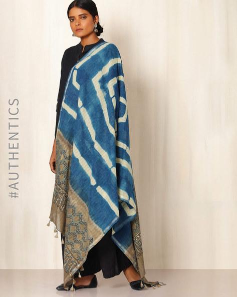 Ajrak Handblock Print Shibori Cotton Dupatta By Indie Picks ( Indigo ) - 460045104001