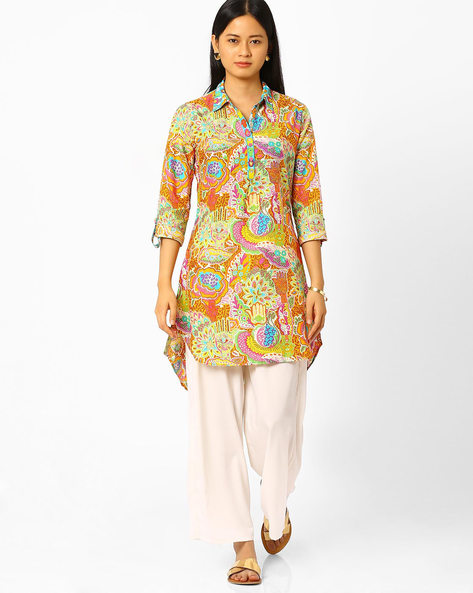 Printed Tunic With High-Low Hem By Biba ( Orange )