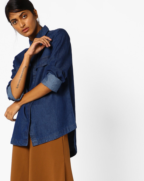 High-Low Shirt With Flap Pockets By Oxolloxo ( Blue )