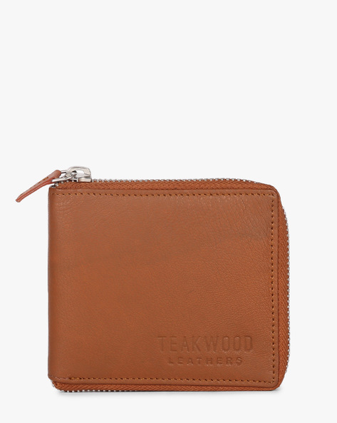 Bi-Fold Wallet With Zipper By TEAKWOOD LEATHERS ( Tan )