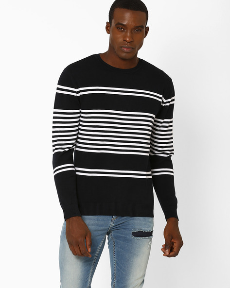 Striped Crew-Neck Slim Pullover By JOHN PLAYERS ( Blue )