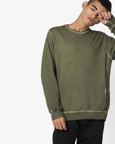 Crew-Neck Sweatshirt By AJIO ( Olive )