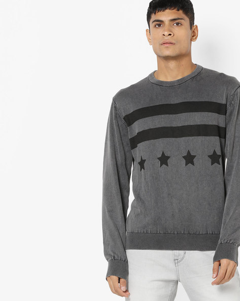 Printed Crew-Neck Pullover With Ribbed Hems By US POLO ( Darkgrey )