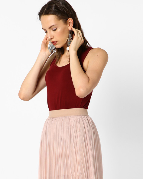 Sleeveless Top With Scoop Neck By CODE By Lifestyle ( Wine )