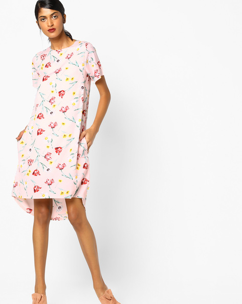 Floral Print High-Low Shift Dress By FIG ( Ltpeach )
