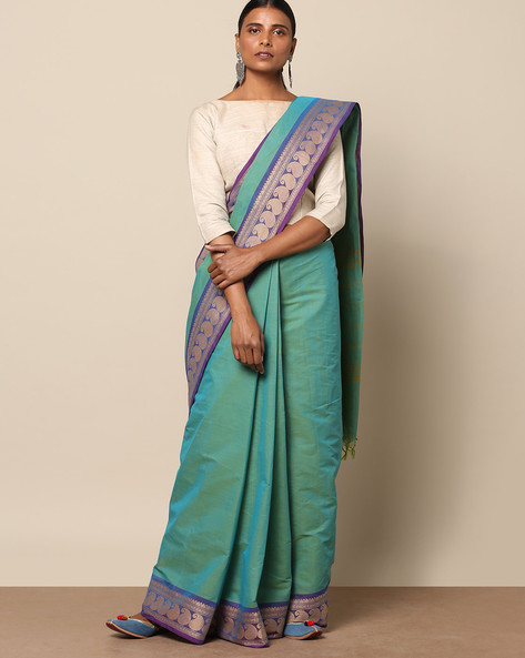 Kanchi Cotton Saree With Woven Border By Indie Picks ( Blue ) - 460164760001