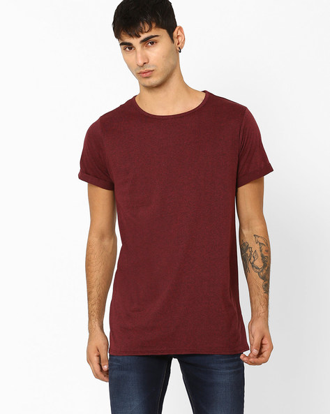 Crew-Neck Longline T-shirt By ADAMO LONDON ( Maroon )