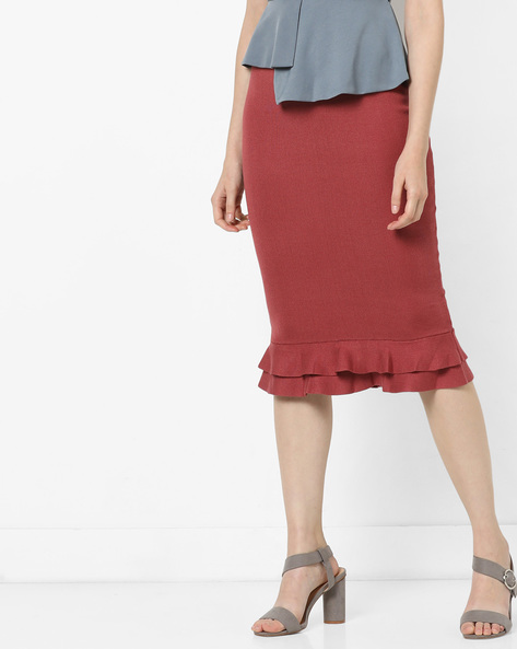 Pencil Skirt With Ruffles By MDS ( Red )