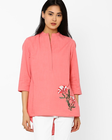 High-Low Tunic With Mandarin Collar By AJIO ( Pink )