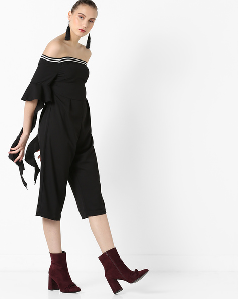 Off-Shoulder Culotte Jumpsuit By AJIO ( Black )