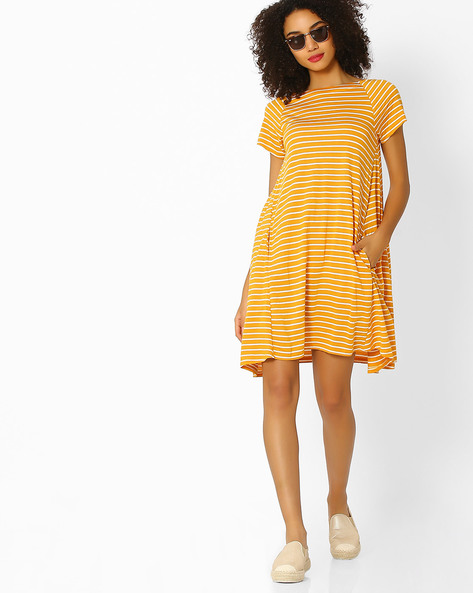 Striped Mini Dress With Insert Pocket By Femella ( Mustard )