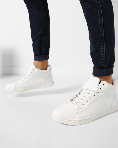 Mid-Top Sneakers With Lace-Up By AJIO ( White )