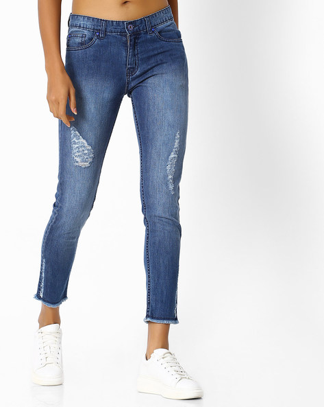 Slim Fit Distressed Jeans By Blue Saint ( Blue )