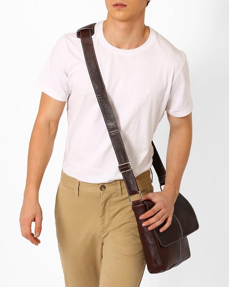 Genuine Leather Messenger Bag By TEAKWOOD LEATHERS ( Drkbrown )