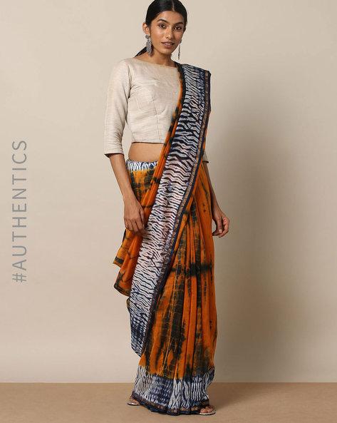 Shibori Tie-Dye Chanderi Saree With Zari By Indie Picks ( Multi ) - 460146843001