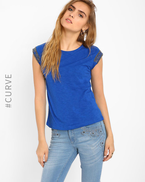 Top With Embellished Sleeves By AJIO ( Blue )