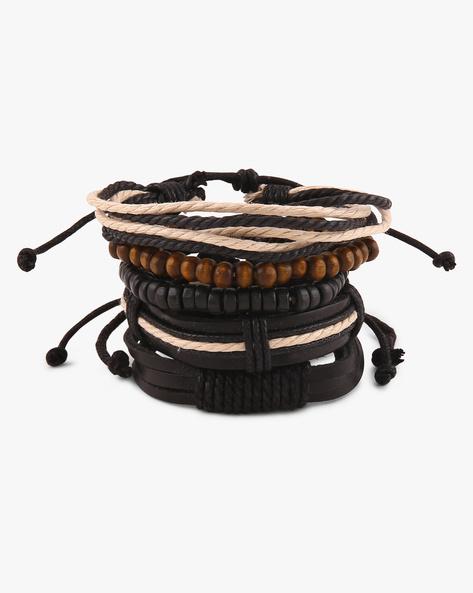 Set Of 5 Leather And Bead Bracelets By Ayesha ( Black )