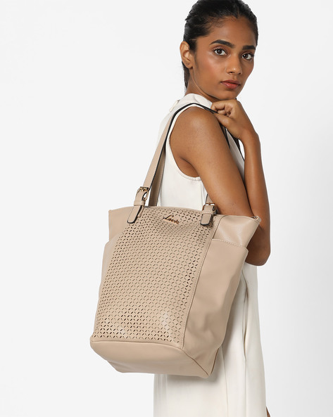 Salyut Tote Bag With Laser Cut-Outs By Lavie ( Beige )
