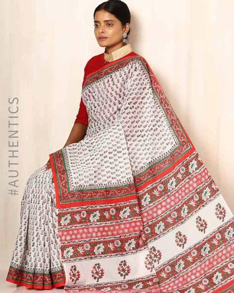 Sanganeri Handblock Print Cotton Mull Saree By Awdhesh Kumar ( Multi )