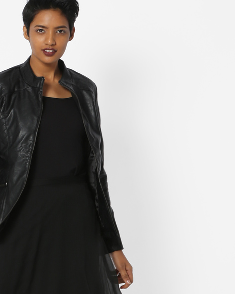 Paneled Jacket With Front Zipper By Fort Collins ( Black )