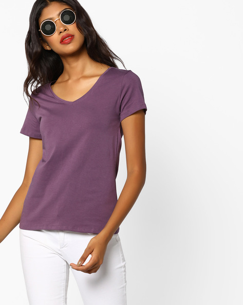 V-neck Cotton Top By Ginger By Lifestyle ( Purple )