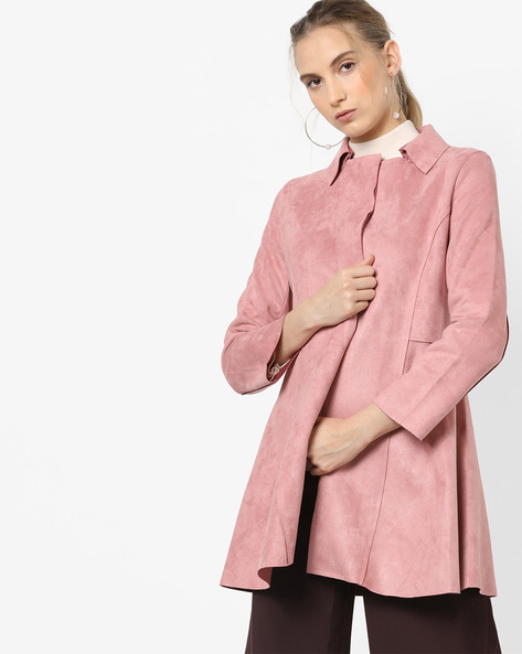 Panelled Coat With Lapel By CODE By Lifestyle ( Pink )