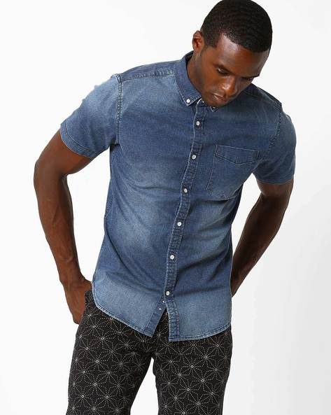 Lightly Washed Casual Shirt By Blue Saint ( Lightblue )
