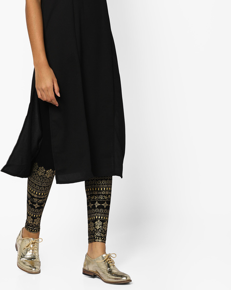 Printed Churidar Leggings With Elasticated Waistband By Melange By Lifestyle ( Black )