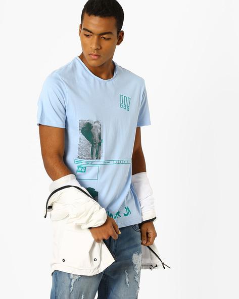 Graphic Print Slim Fit T-shirt By AJIO ( Lightblue )