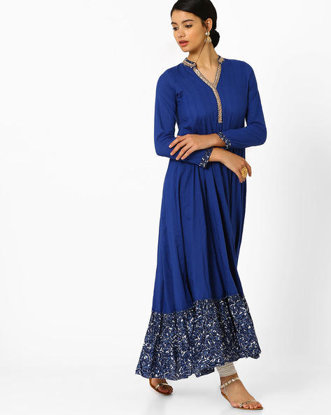 Anarkali Kurta With Zari Embroidery By AJIO ( Blue )