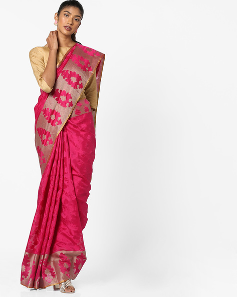 Printed Jacquard Saree With Contrast Border By Era ( Pink )