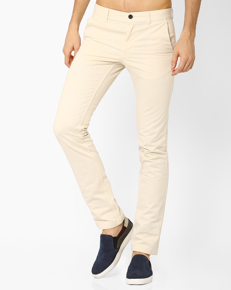 Slim Fit Cotton-Stretch Trousers By INDIAN TERRAIN ( Stone )