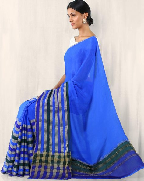 Pure Silk Chiffon Saree With Zari Border By Rudrakaashe-MSU ( Blue )