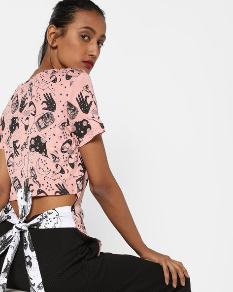 Printed T-shirt With Tie-Up Back By AJIO ( Lightpink )