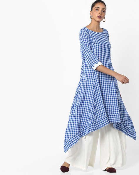 Checked Kurta With Dipped Hemline By AJIO ( Blue )