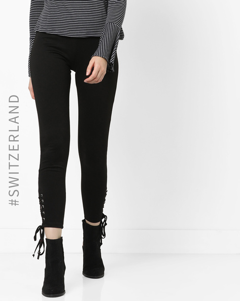 Mid-Rise Leggings With Tie-Ups By TALLY WEiJL ( Black )
